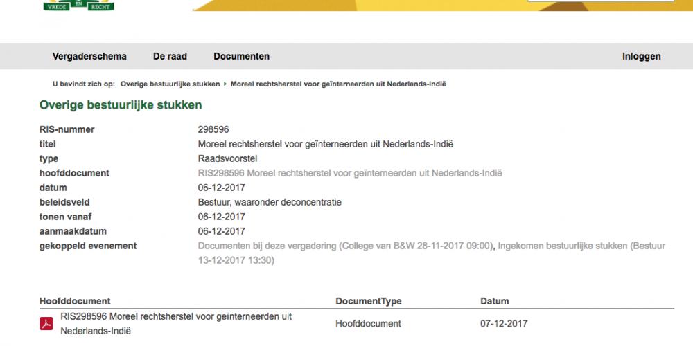 Voorstel van het college inzake Moreel rechtsherstel voor geïnterneerden uit NederlandsIndië