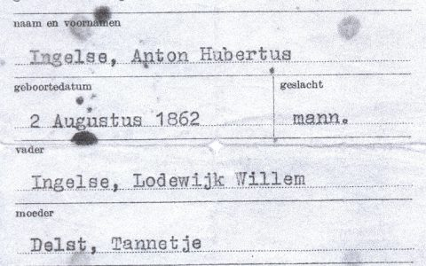 Bewijs van Geboorte Anton Hubertus Ingelse