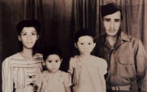 Mary met haar ouders en zus