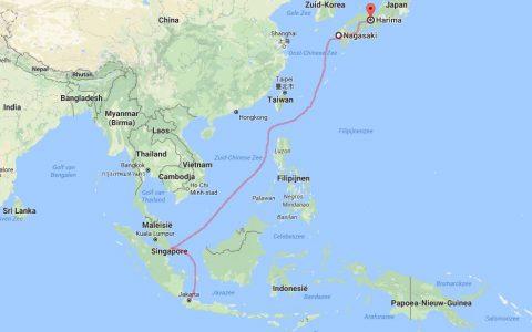 Van Jakarta via Singapore naar Nagasaki en Harima